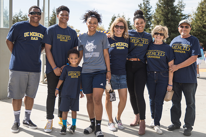 UC Merced Bobcat family poses for photo at Homecoming 2019
