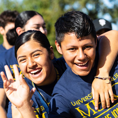UC Merced - Student Panel - First year students smiling during the Bridge Crossin
