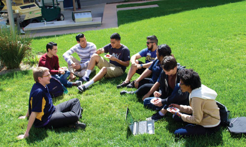 UC Merced students in the quad