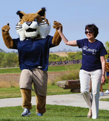 Rufus the Bobcat and Chancellor Leland