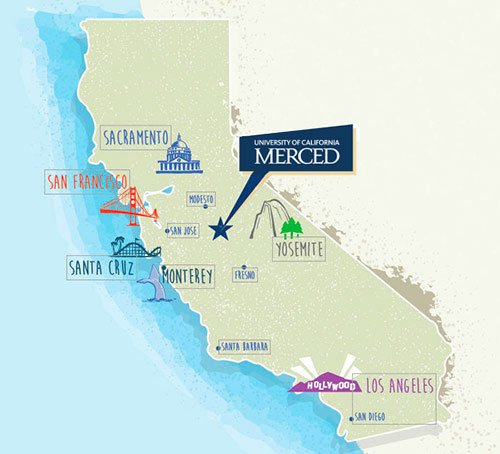 Map of California showing city of Merced